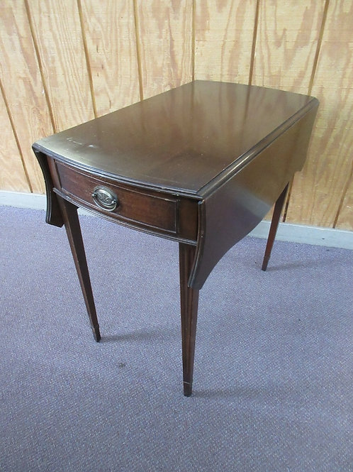 Antique mahogany drop leaf end table with drawer