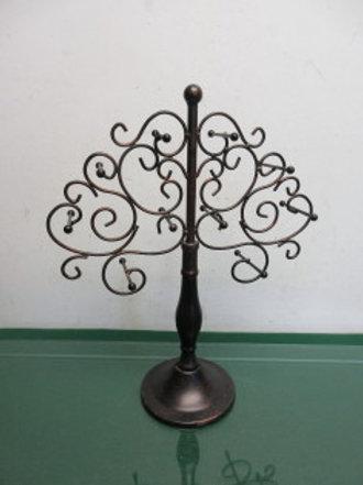 "Metal black & coppertone jewelry hang up tree, 14.5"" high"
