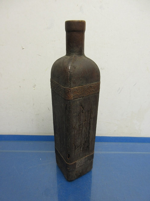 Wood decorative square bottle 13""