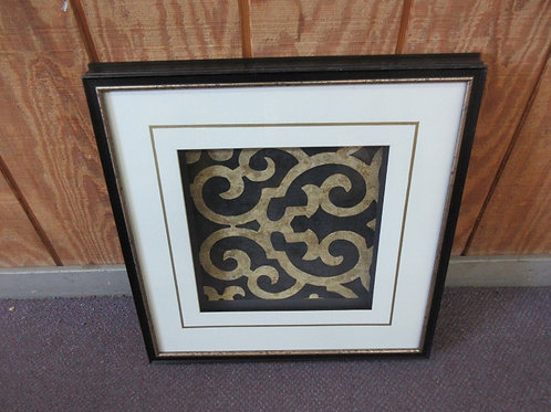 "Shadow box style scroll design wall art, white mat & black frame 20x20"""