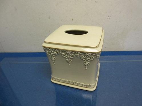 Ivory ceramic cube kleenex box cover