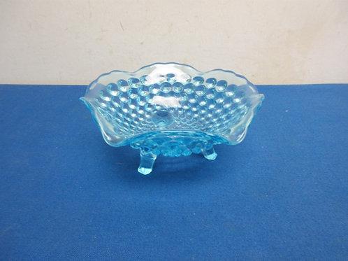 "Blue bubble glass candy dish, 6"" dia"