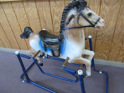 "Vintage ""Duke"" the wonder hobby horse, on blue metal stand"