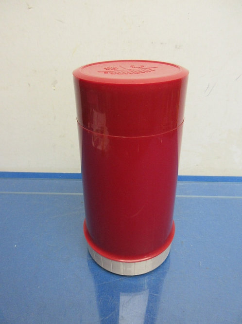 Vintage red thermos with lid cup