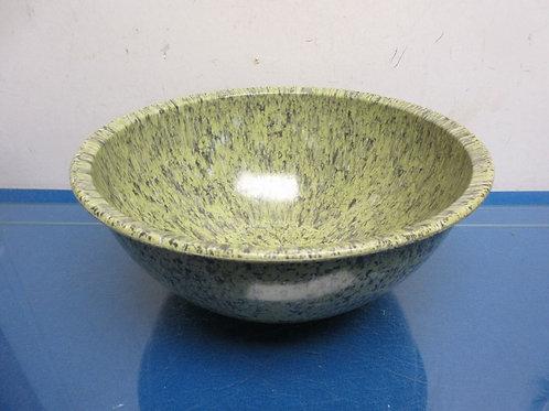 """Vintage Brookpark melmac 10"""" mixing bowl green splatter design"""