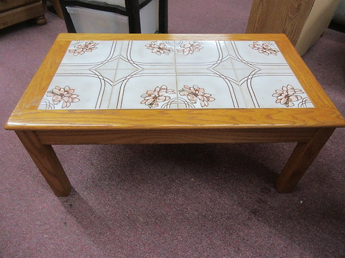 Solid oak small coffee table with ceramic tile inserts - floral design - 21x37x1