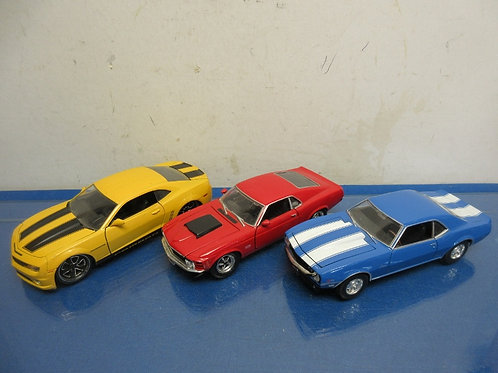 Set of 3 diecast cars, red Mustang, blue Camaro, & yellow Camaro