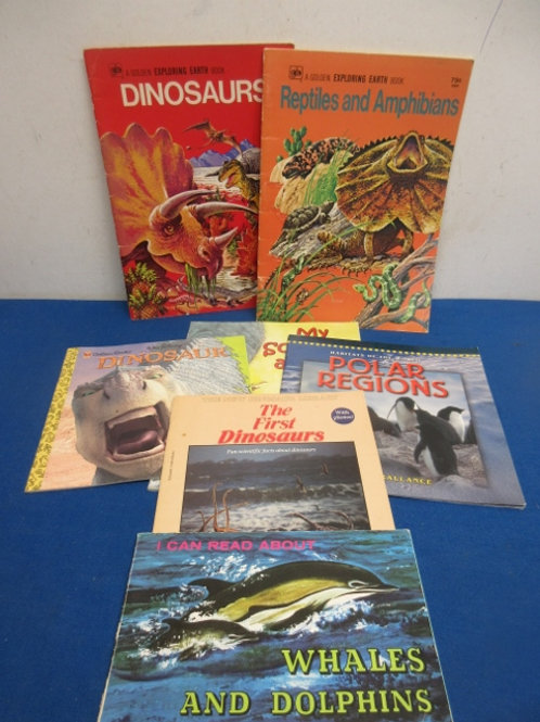 Set of 7 children's bokks about dinosaurs, reptiles, whales