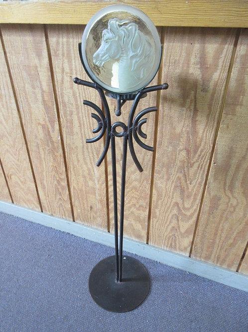 Heavy welded metal floor pillar candle stand w/glass horse head