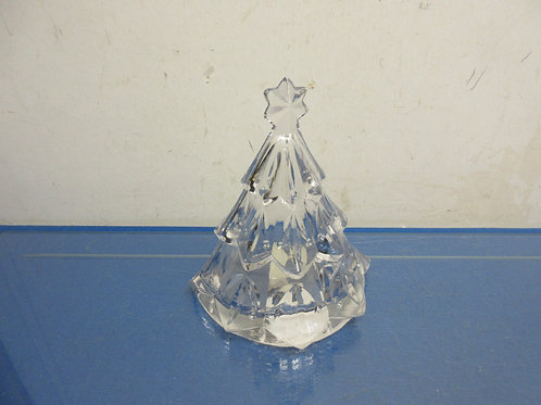 "Mikasa glass Christmas tree tea light holder, 7"" high"