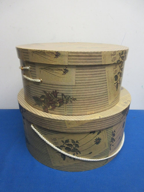 """Pair of round large nesting hat boxes - (1) 14""""dia x7 and (1) 12""""dia x 6"""