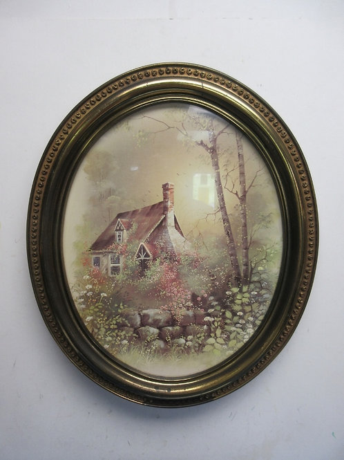 """Thomas Kincade oval print of cottage with gold frame 19x23"""""""