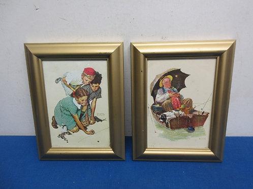 Set of 2 smaller framed Norman Rockwell prints, each 6x9