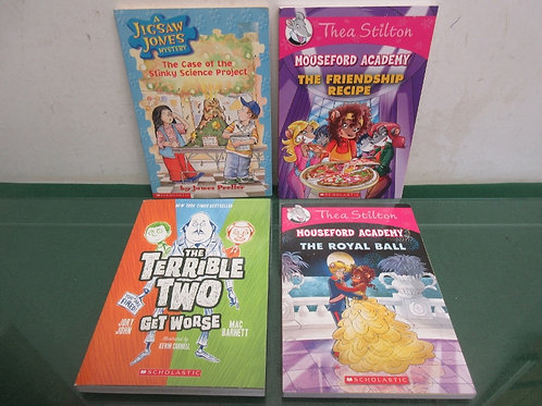 Set of 4 scholastic chapter books mouseford academy books, jigsaw jones and terr