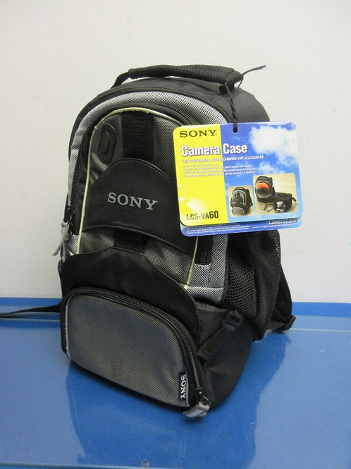 Sony padded black and gray camera backpack, multi compartments