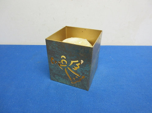Gold cube metal candle holder with angel cut out on the sides, includes new vani
