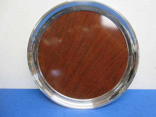 """Round wood grain serving tray with silver edging, 16"""" diameter"""