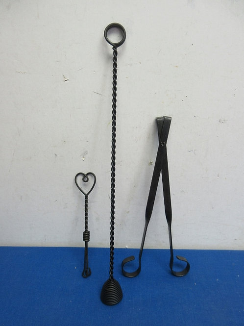 Black metal 3 pc candle accessory set - new