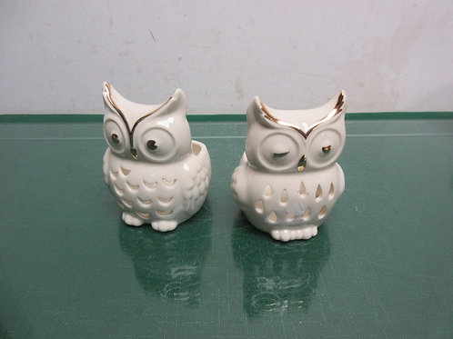 Lenox pair of owl statue tea light candle holders