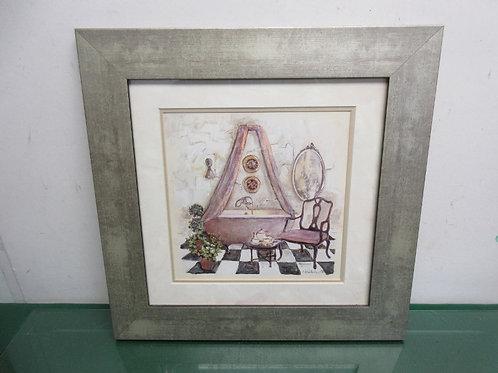 Print of bathroom white mat gray frame, 16x16