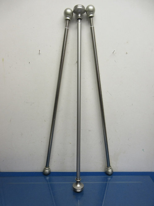 Set of 3 silver adjustable curtain rods