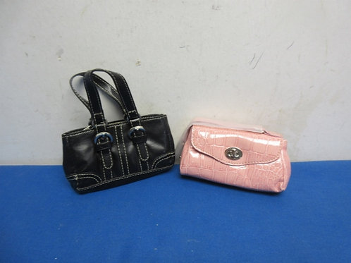 Pair of small purses, pink and black vinyl