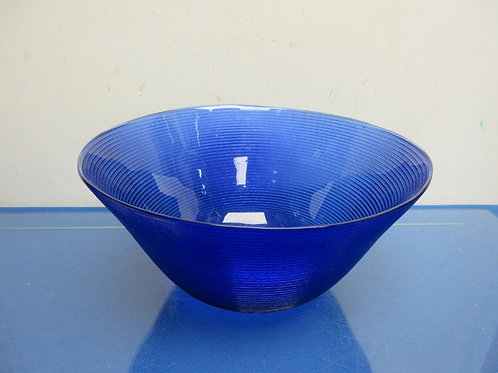 Blue glass ribbed serving bowl