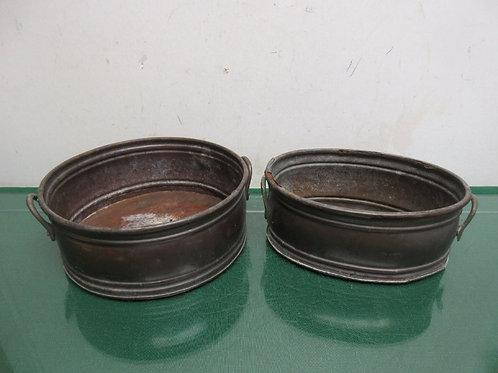 Pair of vintage metal flower pots with handles