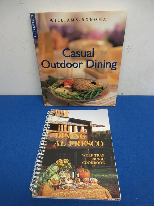 Pair of cookbooks for casual outdoor dining