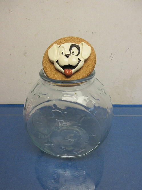 Glass dog treat container with dimensional dog on the cork lid