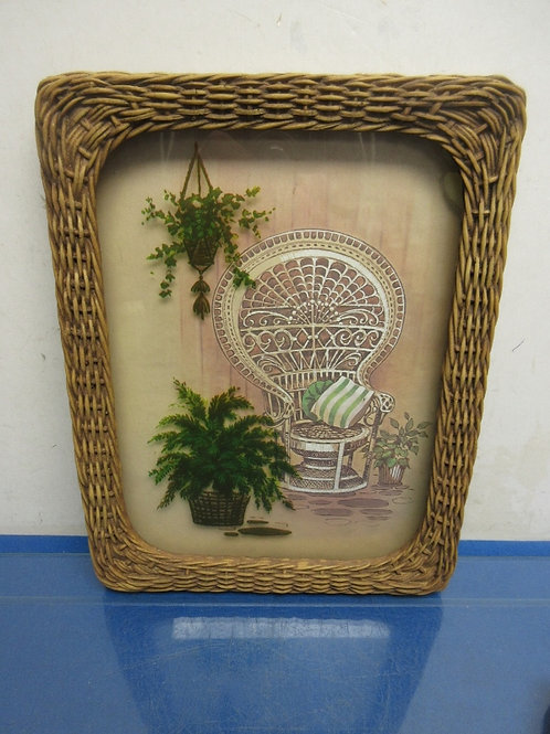 Colored print of a wicker chair in a wicker frame - 10x13