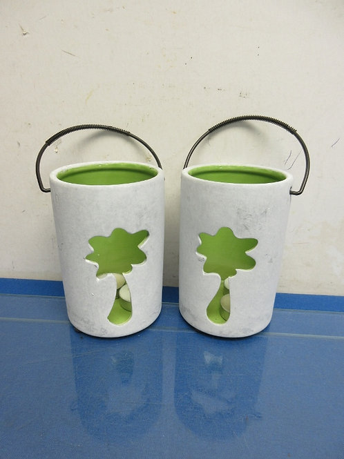 """Pair of palm tree design tea light candle holders, each 6"""" high"""