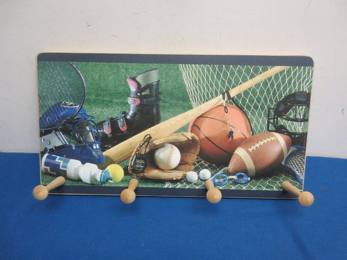 Sports theme coat rack with 4 pedgs to hang clothes on