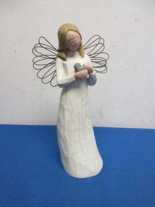 "Willow tree angel statue -angel of peace holding bird, 8"""