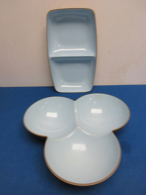 Pair of plastic divided serving trays
