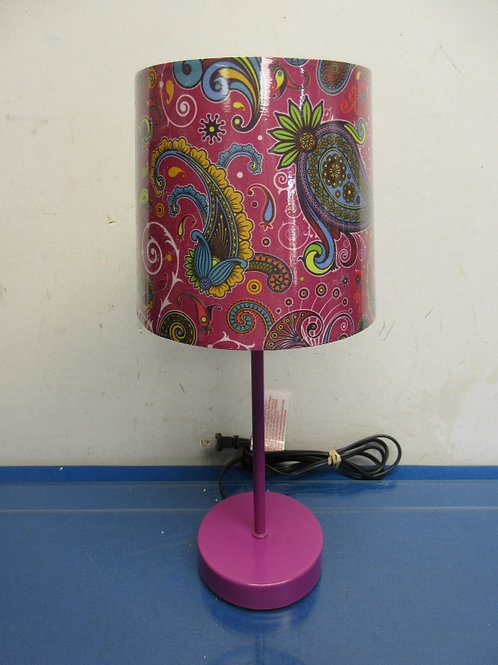 Small purple stick lamp with paisley shade