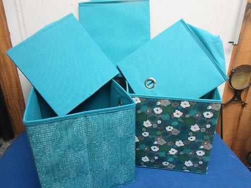"Set of 5 aqua collapsible cube storage boxes, 10"" cube"