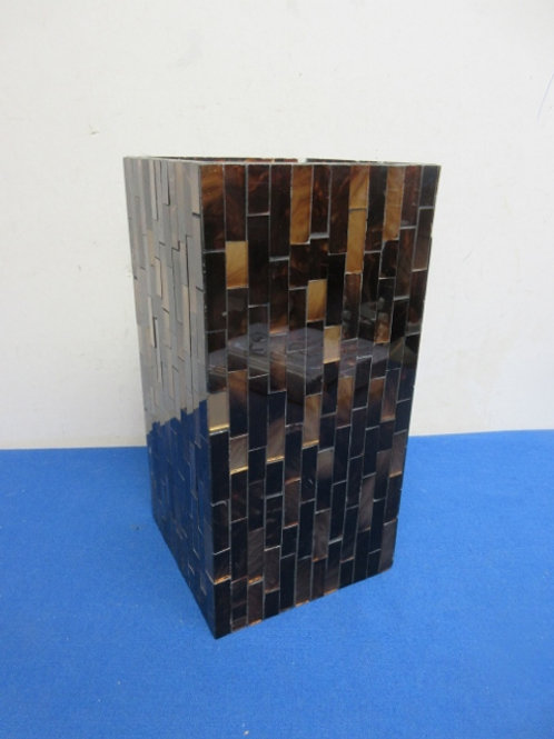 """Gold and brown mosaic candle holder 5x5x10""""high"""