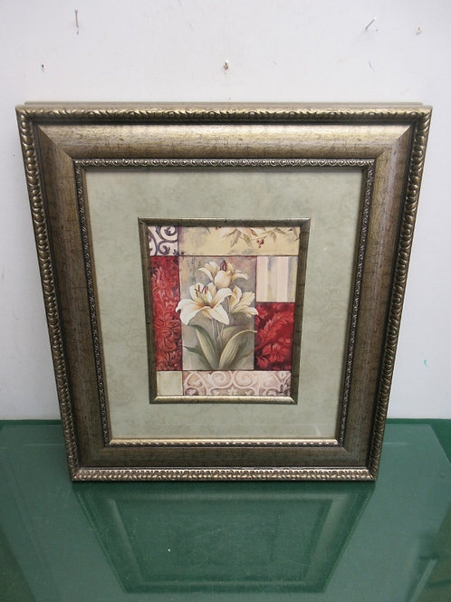 White lily print with wall paper style mat and wide ornate gold frame