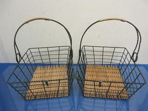 "Set of 2 wicker and green metal baskets w/handles, each 8x10x4""deep"