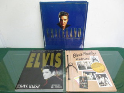set of 3 elvis preslely books, graceland, elvis album and elvis
