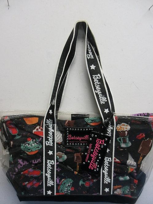 Clear plastic Betseyville stadium purse, Ice Cream design