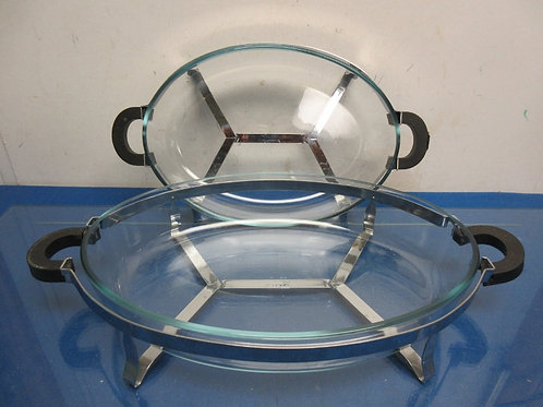 Set of 2 large oval Bodum glass serving  bowls with caddy