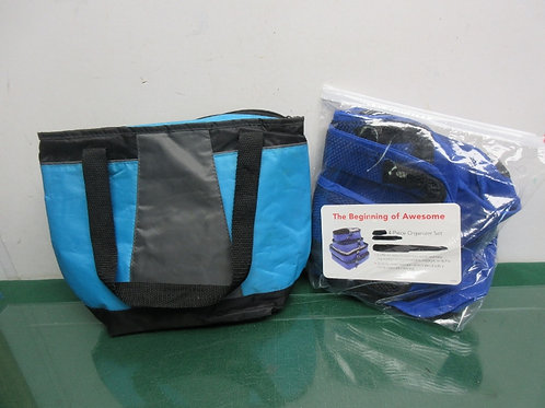 Blue & black insulated lunch bag and 4-pc organizer set, also black & blue