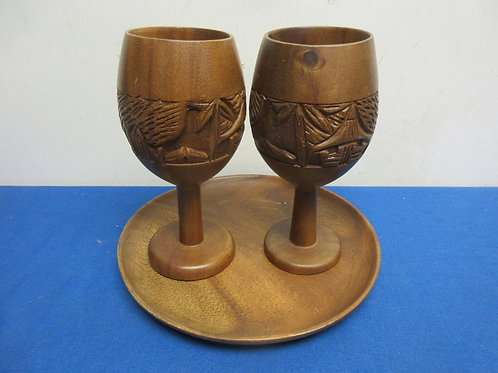 Carved wood plate and 2 wine glasses