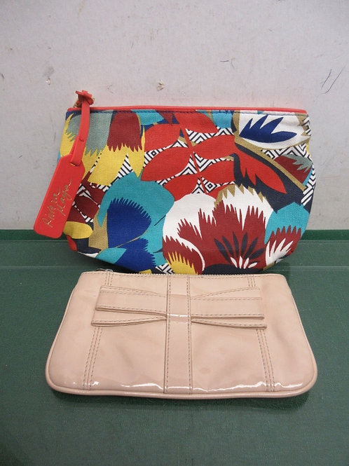 Pair of cosmetic bags multi colored and shiny tan vinyl