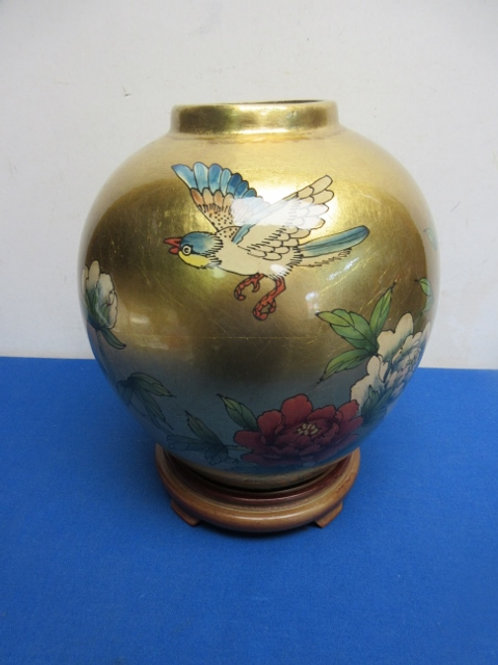 """Gold asian  round vase  with wooden stand 9"""" tall"""