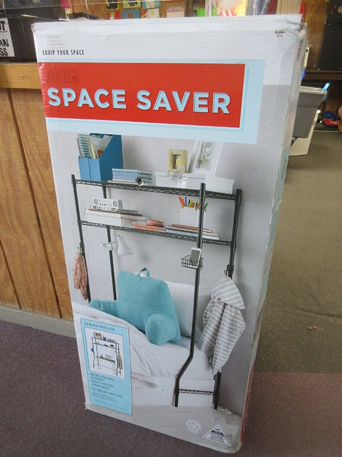 Equip your space Dorm Space Saver black twin bed shelving unit - new in box