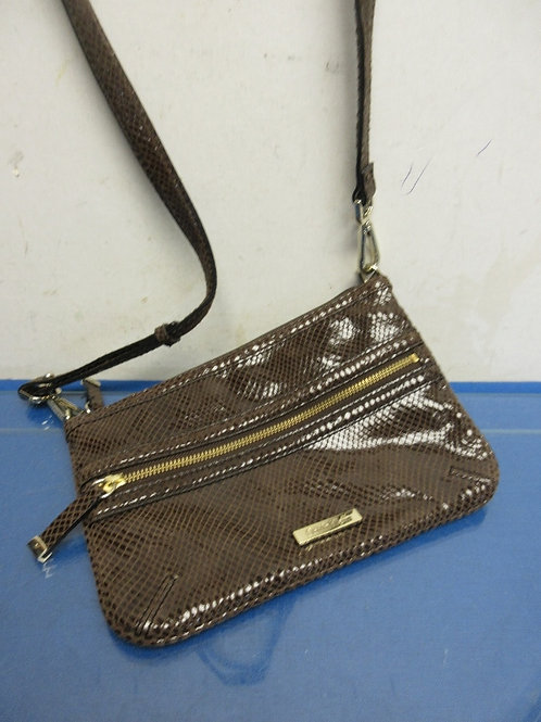 Calvin Klein small brown faux snake skin purse with shoulder strap