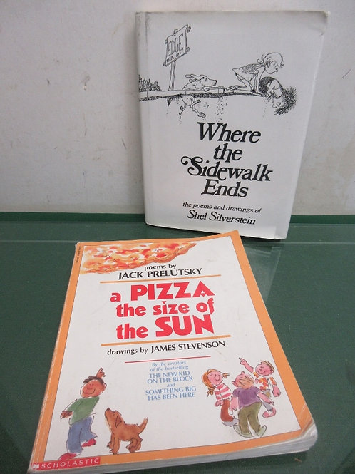 Pair of young adult poetry books - pizza size of sun and where the sidewalk ends